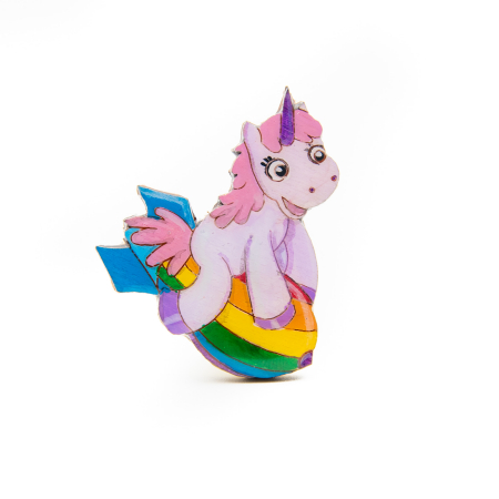 Brosa Lemn Unicorn - Riding the RAINBOW0