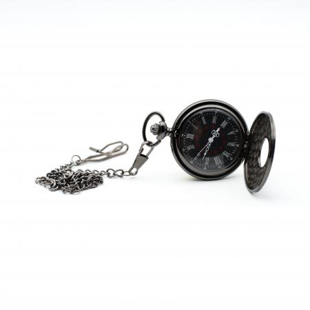 Ceas de Buzunar cu lant - Black - Colectia SteamWall1