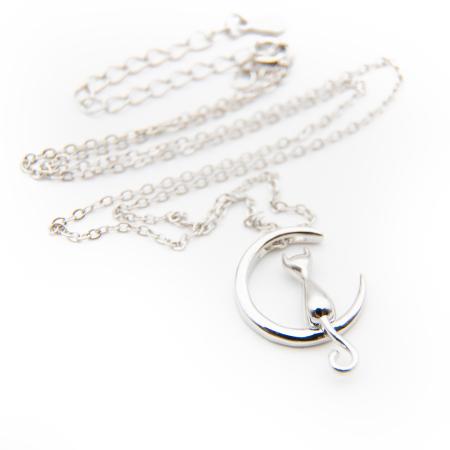 Colier Moon Cat Argint 925 placat aur alb4