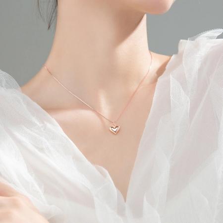 Colier MY HEART - Argint 925 placat cu Aur Roz1