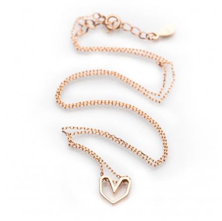 Colier Pink Heart - Argint 925 placat cu Aur Roz3