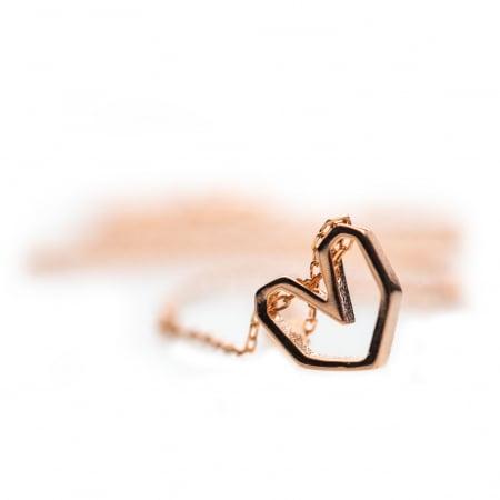 Colier Pink Heart - Argint 925 placat cu Aur Roz2