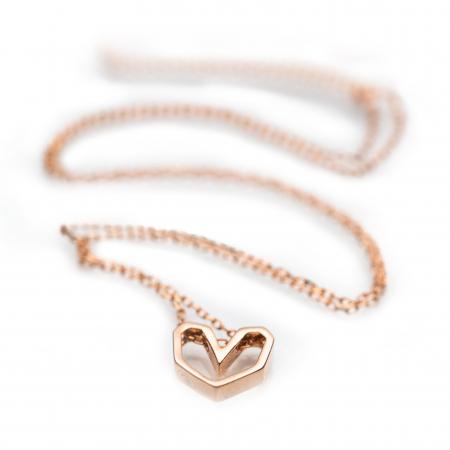 Colier Pink Heart - Argint 925 placat cu Aur Roz1
