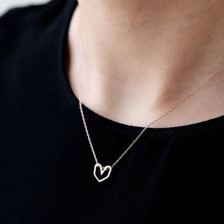 Colier Pink Heart - Argint 925 placat cu Aur Roz0