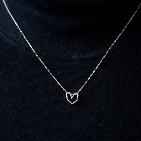 Colier Silver Heart - Argint 925 placat cu Aur Alb3