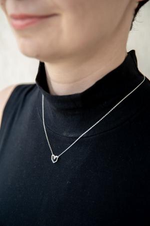 Colier Silver Heart - Argint 925 placat cu Aur Alb1