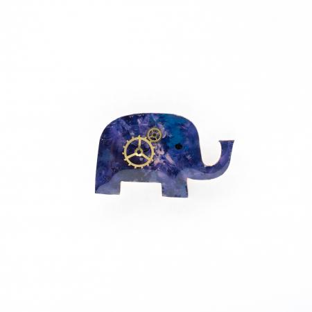 Brosa Lemn Albastra Elefant