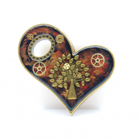 Pandantiv Inima cu Charm Copacul Vietii / Tree of Life0