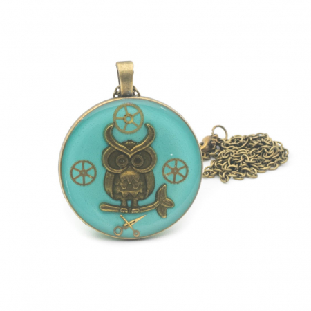 Pandantiv Handmade Bufnita Turquoise