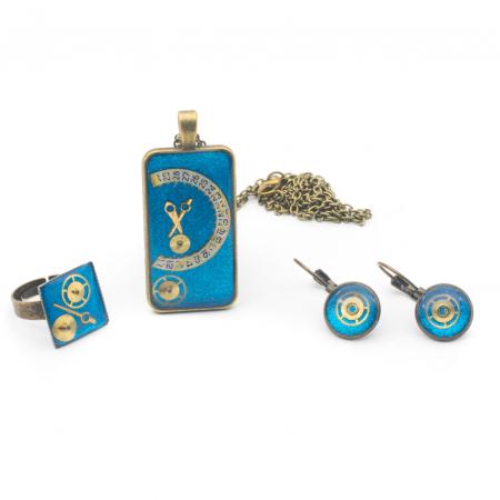Set Bijuterii Albastru Metalizat - Handmade - EDITIE LIMITATA0
