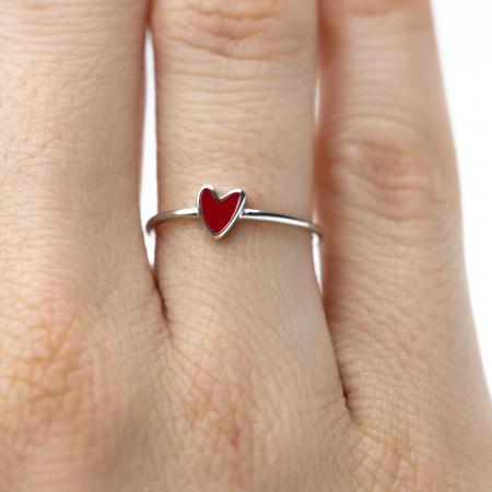 Inel RED HEART Argint 9250