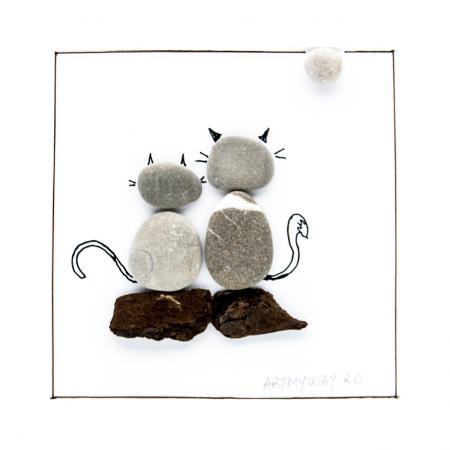Tablou ZEN Cats - Colectia Pebble Art2