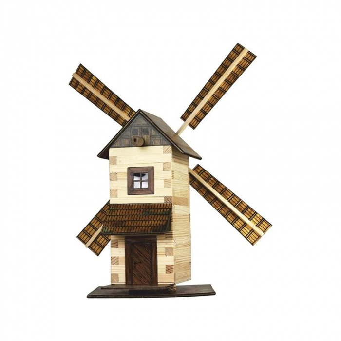 Set constructie arhitectura Moara de vant, 137 piese din lemn, Walachia 0