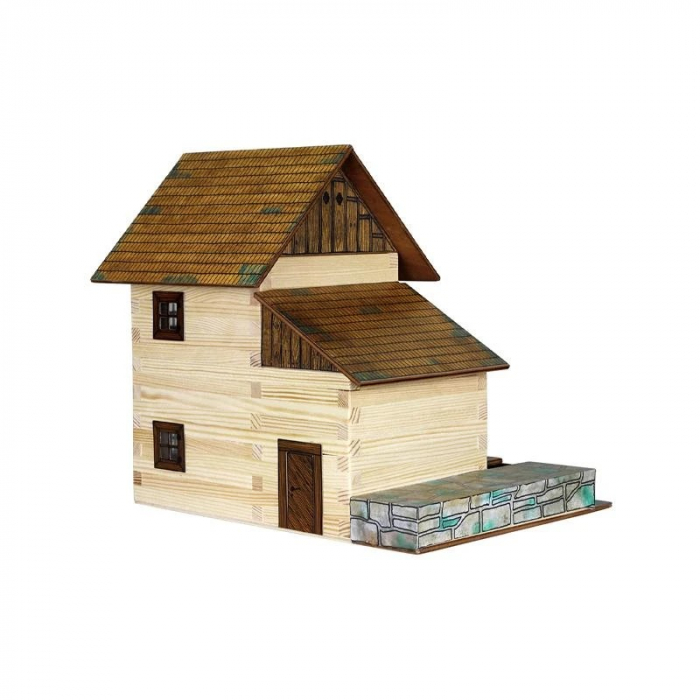 Set constructie arhitectura Moara de apa, 196 piese din lemn, Walachia 1