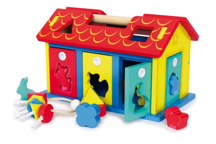 Casa din lemn cu forme si animale de sortat [0]