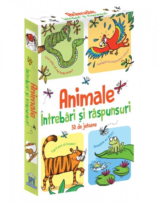 ANIMALE-INTREBARI SI RASPUNSURI - 50 DE JETOANE- joc educativ Didactica Publishing House 0