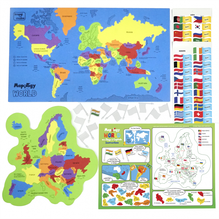 Cadou 5-7 ANI - Puzzle Harta lumii cu steaguri si capitale + Set Cuburi Rubik Fructe [3]