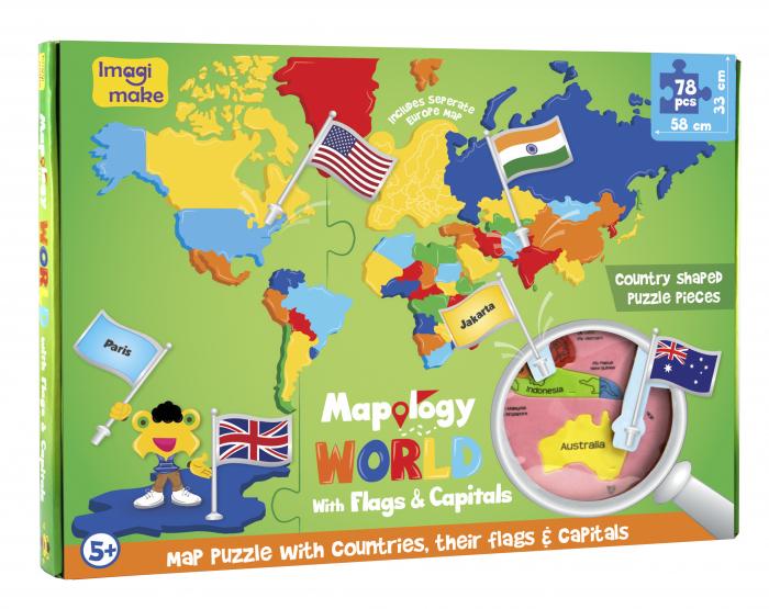 Cadou 8-14 ANI - Puzzle Harta lumii cu steaguri si capitale + Puzzle 3D Case [4]