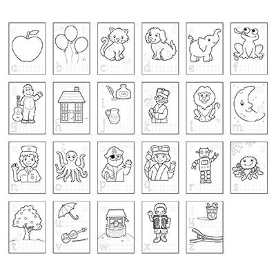 Carte de colorat cu activitati in limba engleza si abtibilduri ABC 1