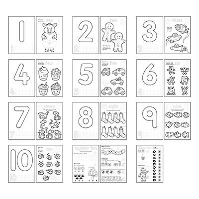 Carte de colorat cu activitati Invata numerele / NUMBER 4