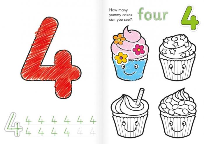 Carte de colorat cu activitati Invata numerele / NUMBER 2