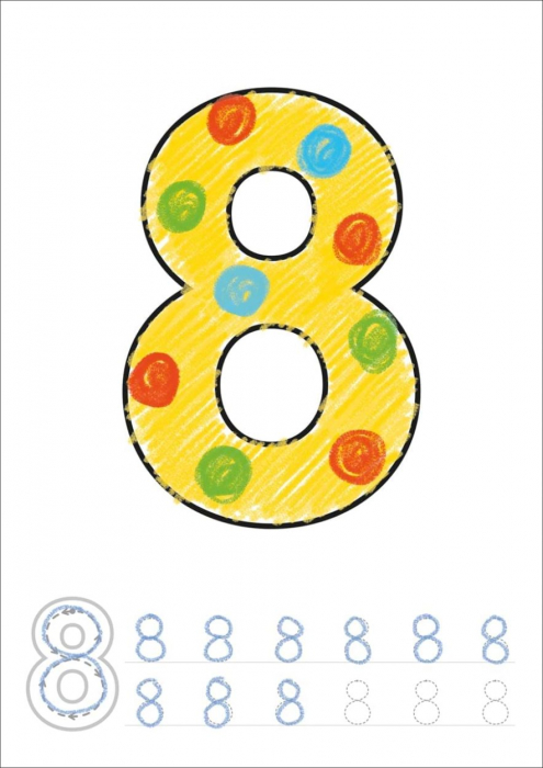 Carte de colorat cu activitati Invata numerele / NUMBER 1