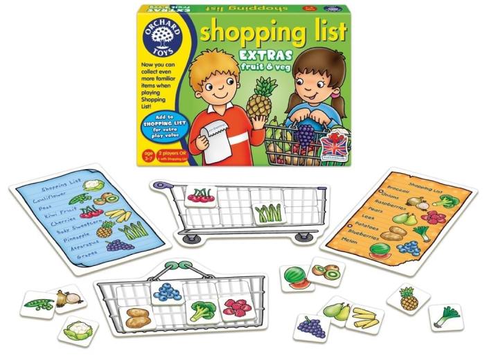 Joc educativ in limba engleza Lista de cumparaturi Fructe si legume 1