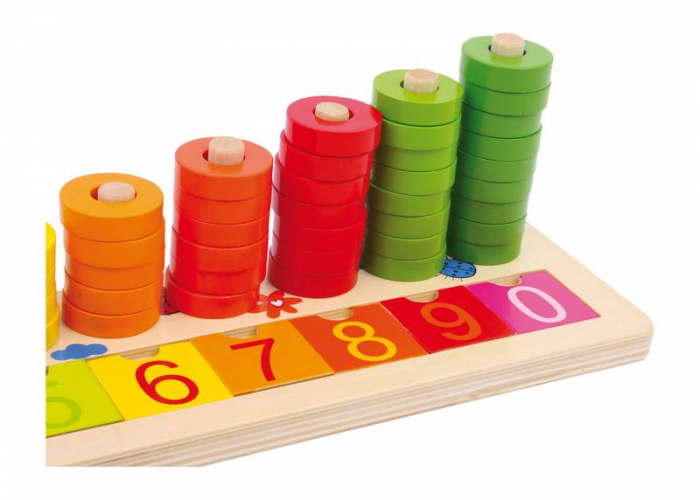 "Joc educativ Numaratoare cu inele colorate / Calculation table ""Wooden Rings"" - Legler 3"