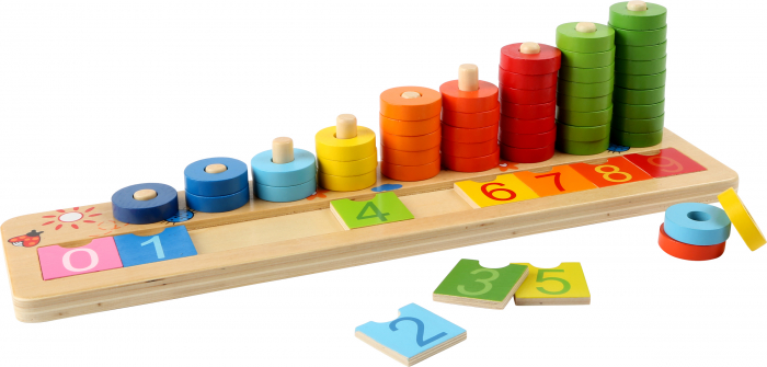 "Joc educativ Numaratoare cu inele colorate / Calculation table ""Wooden Rings"" - Legler 0"