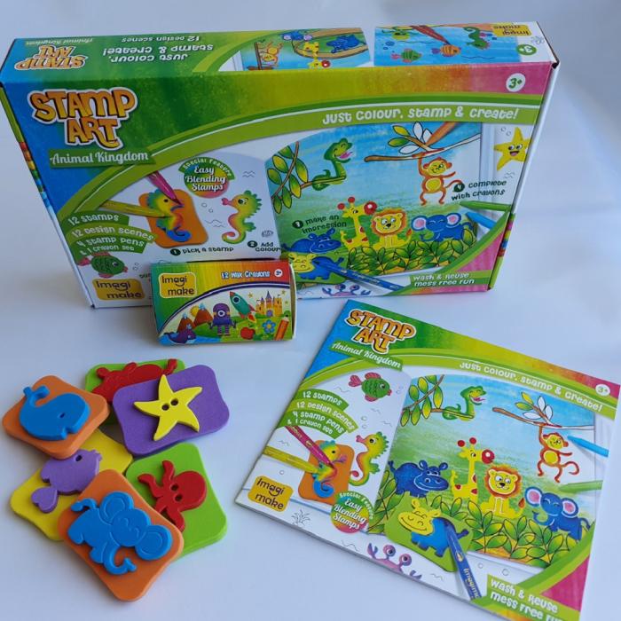 Cadou 3-5 ANI - Set Creativ cu stampile + 2 Puzzle lemn 3