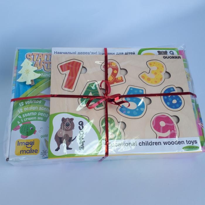 Cadou 3-5 ANI - Set Creativ cu stampile + 2 Puzzle lemn 1
