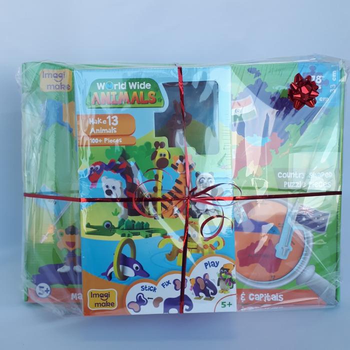 Cadou 8-14 ANI - Puzzle Harta lumii cu steaguri si capitale + Puzzle 3D Animale 1