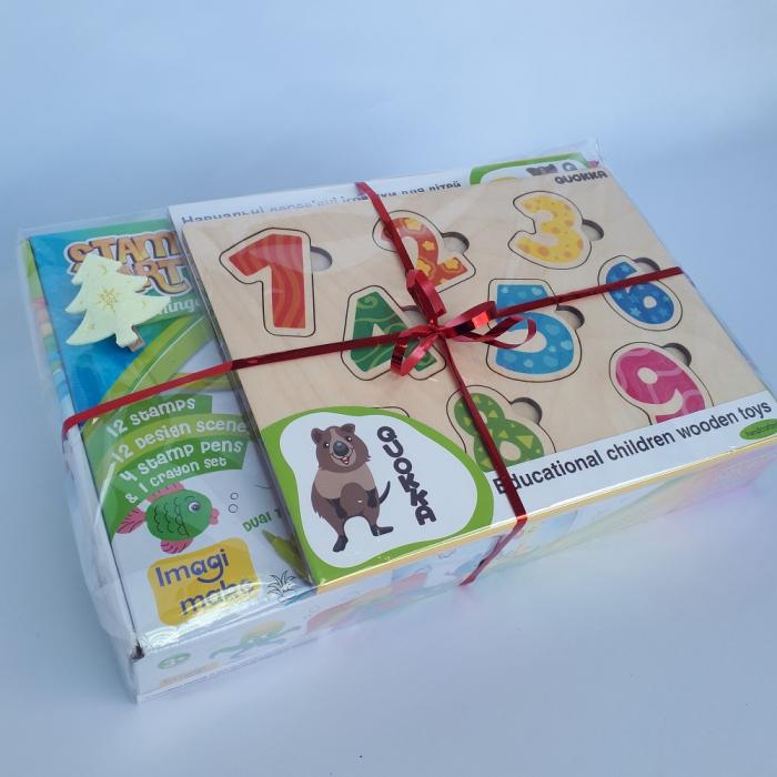 Cadou 3-5 ANI - Set Creativ cu stampile + 2 Puzzle lemn 2