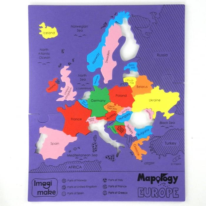 Pachet Puzzle educativ din spuma: Harta Lumii + Harta Europei - Imagimake 6