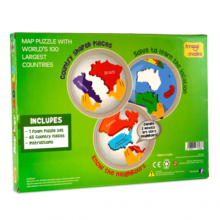 Puzzle educativ din spuma EVA - Harta Lumii - Imagimake 2