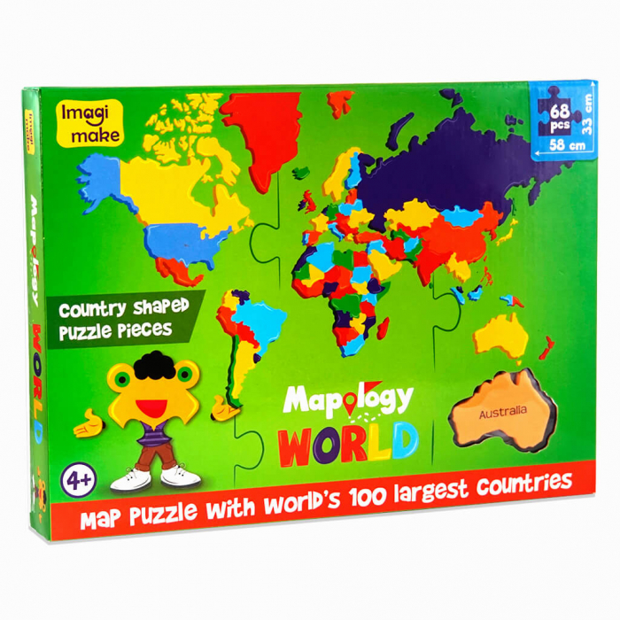 Puzzle educativ din spuma EVA - Harta Lumii - Imagimake 0