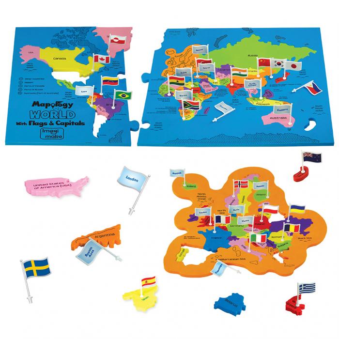 Puzzle educativ din spuma EVA - Harta lumii - steaguri si capitale - Imagimake 1