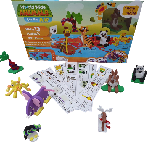 Puzzle educativ Harta lumii - Animale - din spuma Eva 2