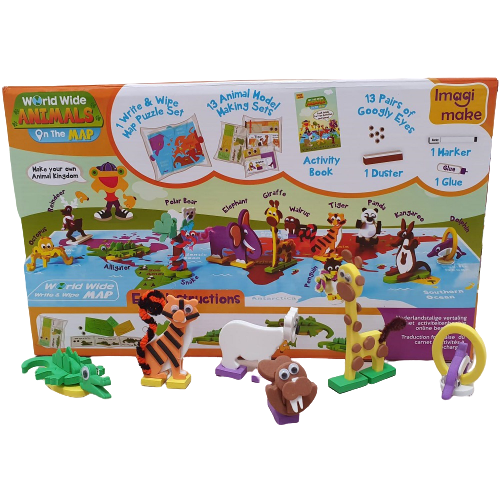 Puzzle educativ Harta lumii - Animale - din spuma Eva 1
