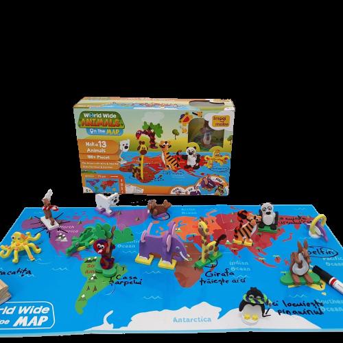 Puzzle educativ Harta lumii - Animale - din spuma Eva 2