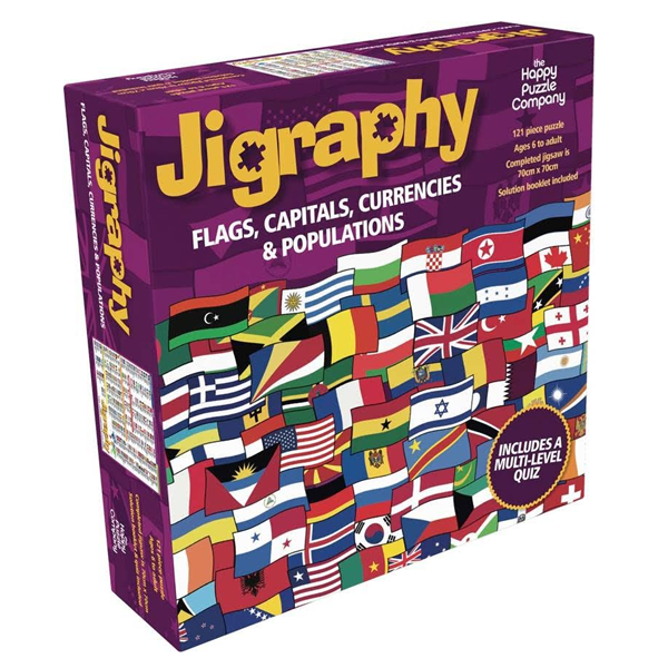 Puzzle educativ Steaguri, Capitale, Monede si Populatii / Jigraphy Flags, Capitals, Currencies & Populations 0