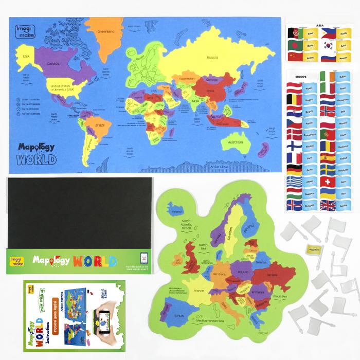 Puzzle Realitate Augmentata cu activitati in Limba Engleza -  Harta Lumii cu Steaguri si Capitale [1]