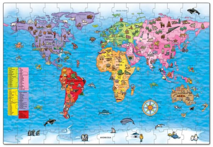 Puzzle si poster Harta lumii (limba engleza 150 piese) WORLD MAP PUZZLE & POSTER 1