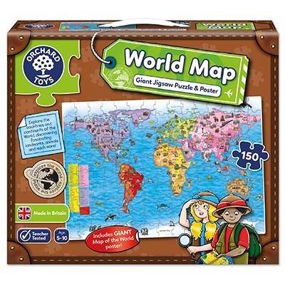 Puzzle si poster Harta lumii (limba engleza 150 piese) WORLD MAP PUZZLE & POSTER 3