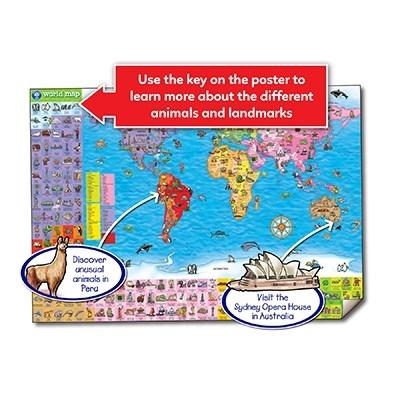 Puzzle si poster Harta lumii (limba engleza 150 piese) WORLD MAP PUZZLE & POSTER 6