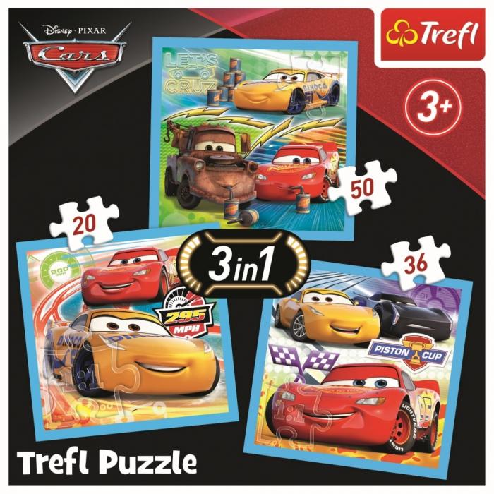 Puzzle Trefl 3in1 Cars pregatiri pentru cursa [4]