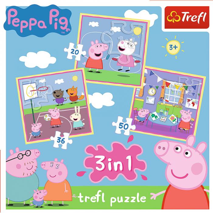 Puzzle Trefl 3in1 Peppa Pig activitati scolare [4]