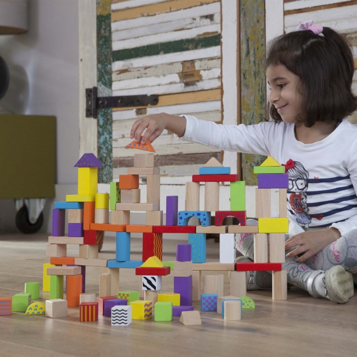 Set de 100 de cuburi din lemn 2