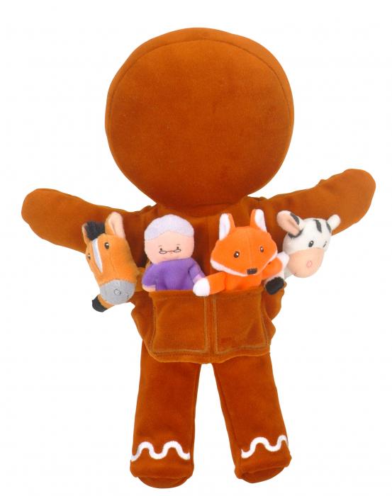 Set de papusi si marionete Omul de turta dulce / Gingerbread Man Hand and Finger Pupper Set 2