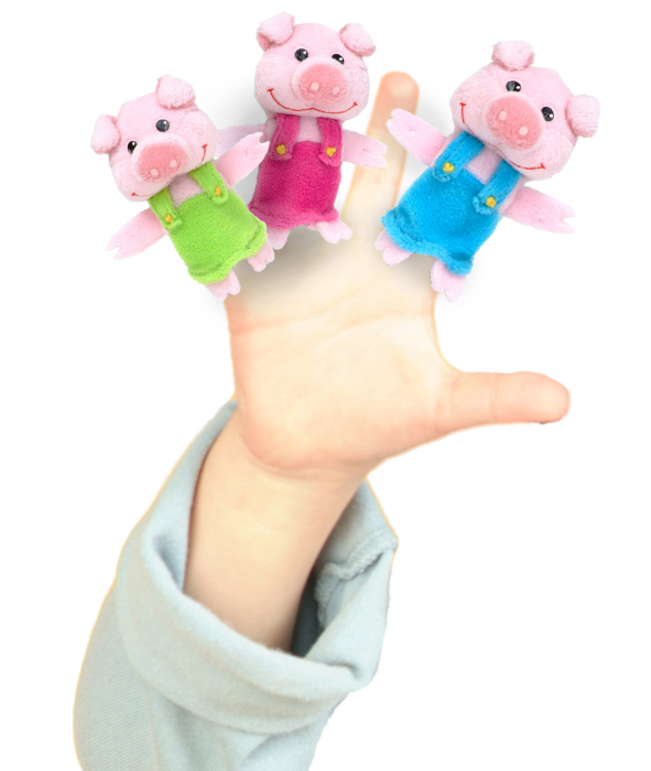 Set Papusa si marionete Cei 3 purcelusi / Big Bad Wolf and the Three Little Pigs - Fiesta Crafts 2